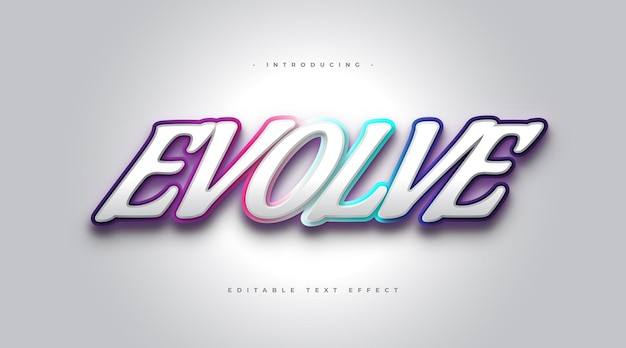Evolve text with colorful gradient style in 3d effect