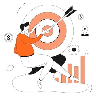 정확한 타겟 마케팅 비즈니스 일러스트레이션 키트