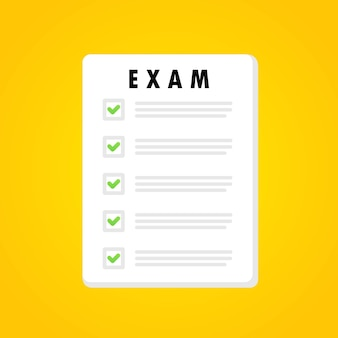 Exam form banner. online test. education. examination concept. vector on isolated white background. eps 10.