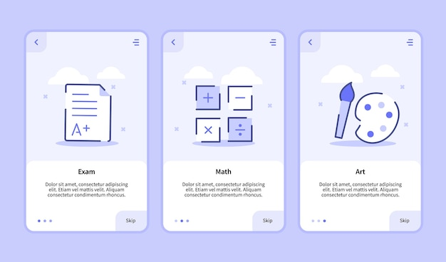 モバイルアプリの試験数学アートオンボーディング画面