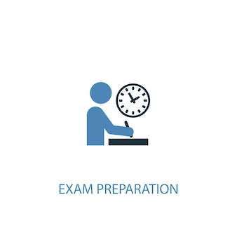 Exam preparation concept 2 colored icon. simple blue element illustration. exam preparation concept symbol design. can be used for web and mobile ui/ux