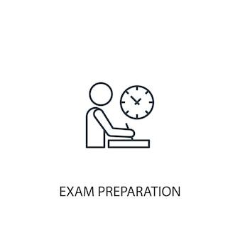 試験準備コンセプトラインアイコン。シンプルな要素のイラスト。試験準備コンセプト概要シンボルデザイン。 webおよびモバイルui / uxに使用できます