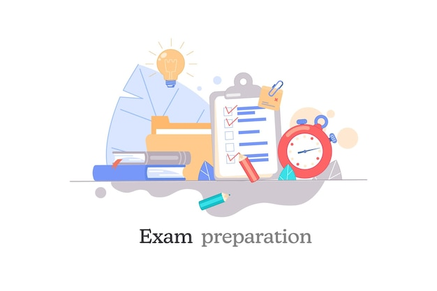 Exam preparation school test exam concept checklist and stopwatch choice of answer education
