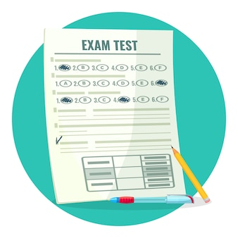 Exam test on paper with answers and pencil. assessment of knowledge on paper and pen. estimation of qualification isolated cartoon  .