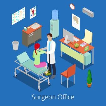 Изометрические хирург офис с доктором examinating пациента.