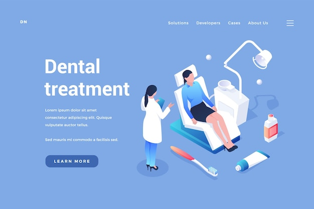 診察と歯科治療歯科医が患者の口を診察します