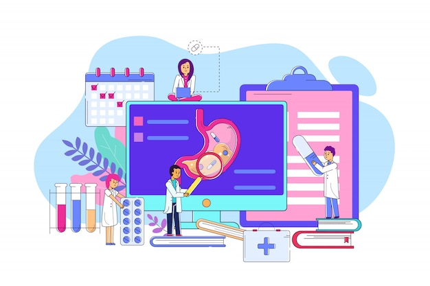 Examination stomach on electronic device concept line  illustration. man and woman character in medical coat examining