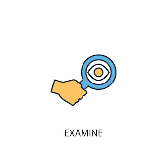 Изучите концепцию 2 значка цветной линии. простой желтый и синий элемент иллюстрации. изучить концепцию дизайна символа схемы