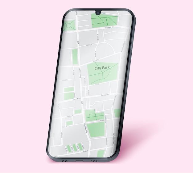 画面に地図が表示されたフレームレスモデルのスマートフォンの例。