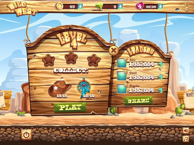 Example of the game window to pass the task level in the game wild west