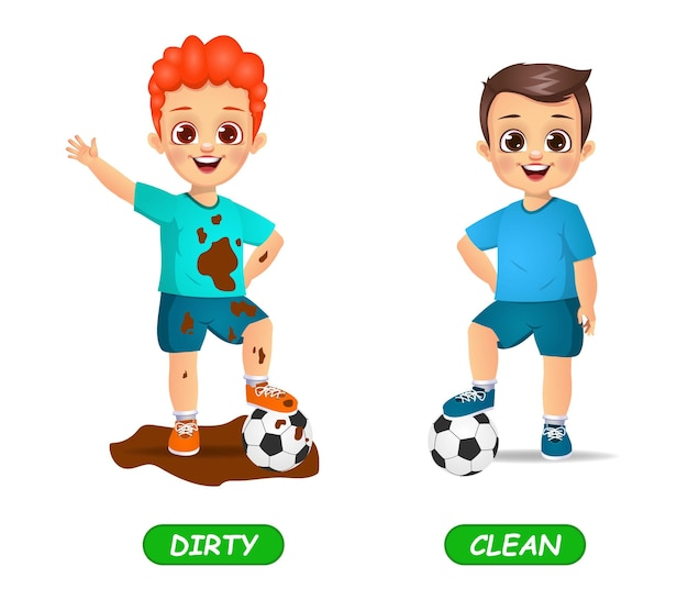 子供のための反対の形容詞の単語の例。白で隔離
