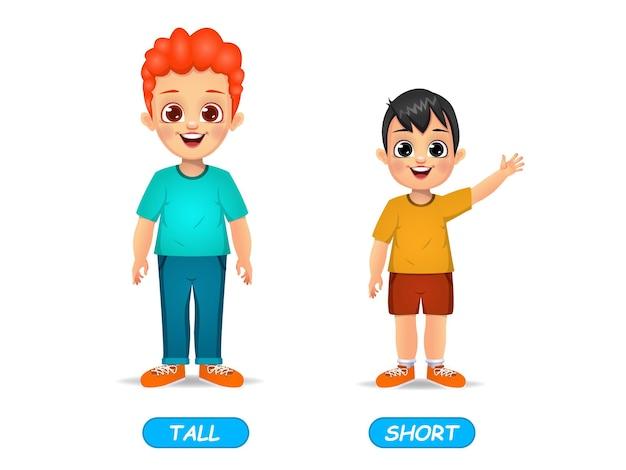 Пример слова противоположных прилагательных для детей. изолированные на белом