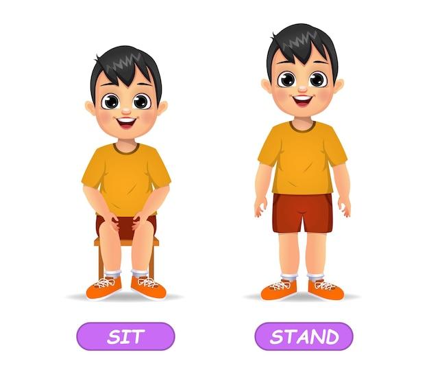 아이들을위한 반대 형용사 단어의 예. 흰색 절연