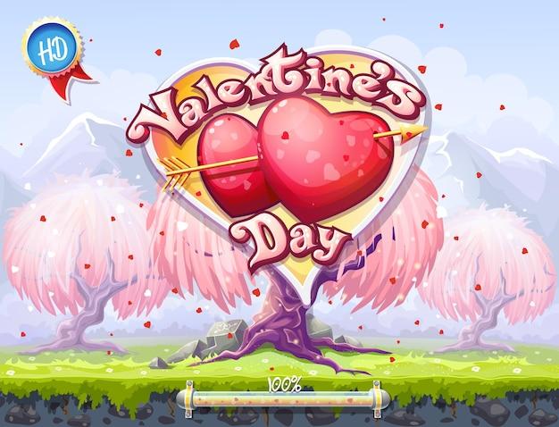 バレンタインデーをテーマにしたコンピューターゲームやウェブデザインの起動画面の例