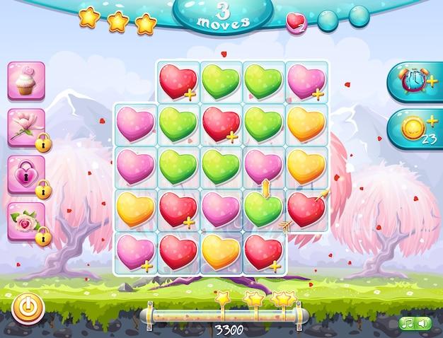 バレンタインデーをテーマにした競技場の例と3列に集まったコンピューターゲームのインターフェース