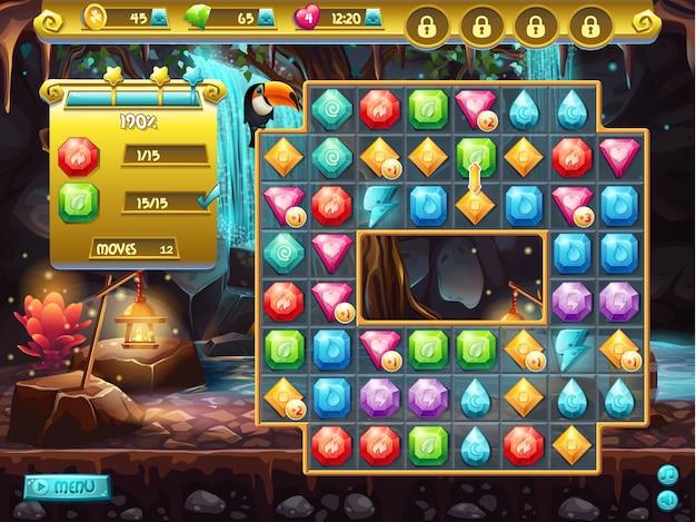 Пример пользовательского интерфейса и игрового поля для компьютерной игры три в ряд. охота за сокровищами