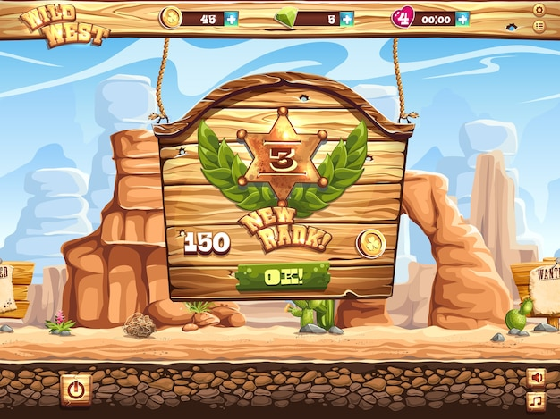 Пример окна смены ранга в игре дикий запад