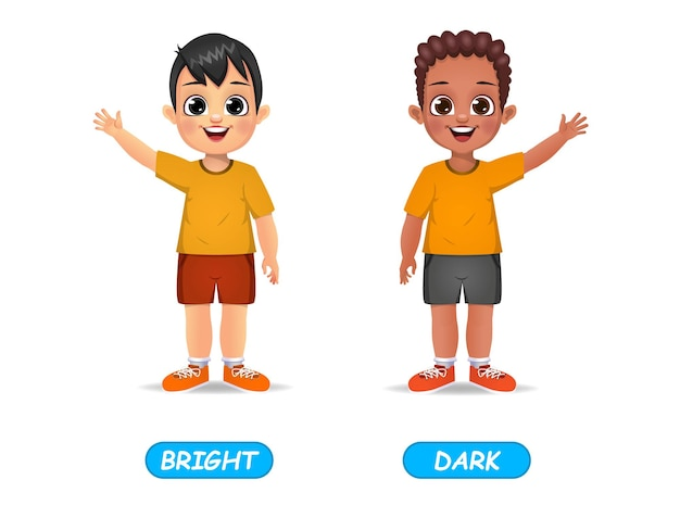 Example of opposite adjectives word for kids. isolated on white