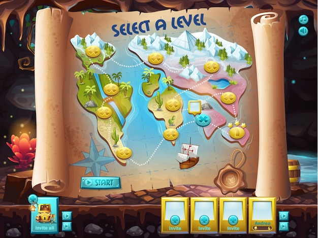 Example of the user interface to select the level to play treasure hunt.