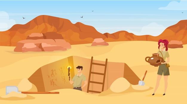 발굴 평면 그림. 고고학 유적지, 남자는 벽화를 관찰합니다. 모래 사막. 이집트 벽 그림 발견. 아프리카의 그라운드 홀. 원정대 만화 배경