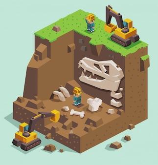 화석 고고학 유적지 발굴