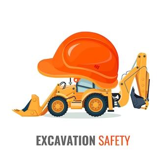 헬멧에 굴삭기가있는 굴착 안전 프로모션 포스터. 건설 작업 배너 중 보안. 건물 및 헤드 기어 용 기계.