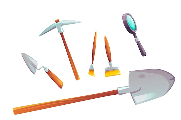 Excavation tools set of cartoon illustration