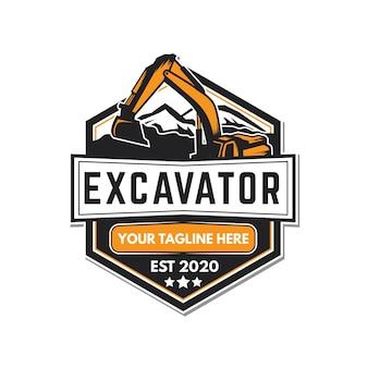 掘削機と建設のロゴ