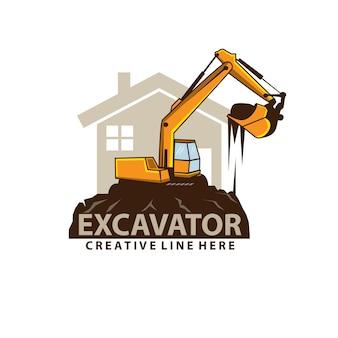 掘削機と家