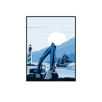 掘削機とビーチのイラストのコンセプト