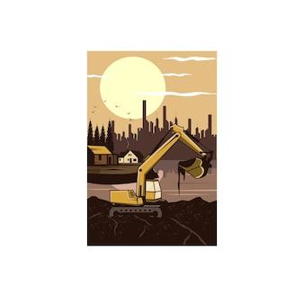 掘削機と街