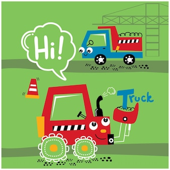 Экскаватор и грузовик в рабочей зоне забавный мультик