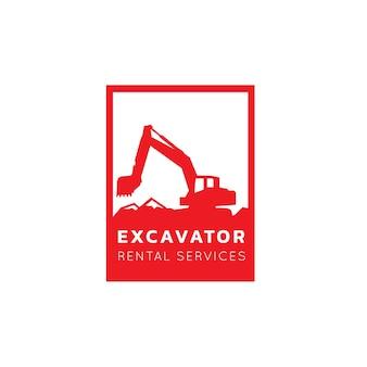 Excavator and backhoe logo vector illustration