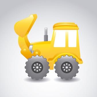 Excavator cartoon over gray background vector illustration