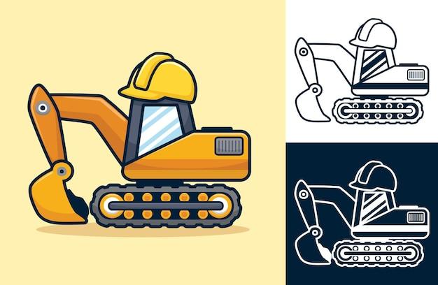 ヘルメットをかぶった掘削機の漫画。フラットアイコンスタイルの漫画イラスト