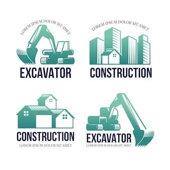 Excavator construction logo concept