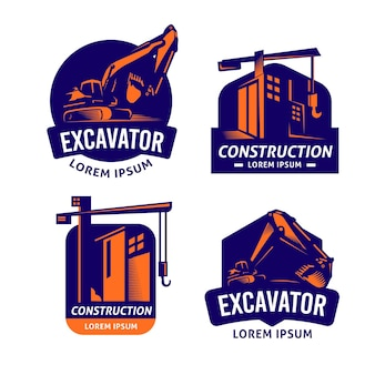 Excavator and construction logo set