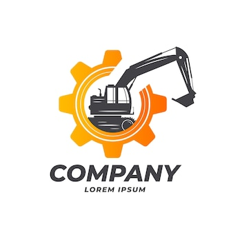 Excavator and construction logo template with gear