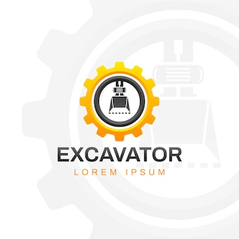 Excavator construction logo