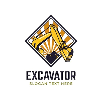 Excavator and construction logo