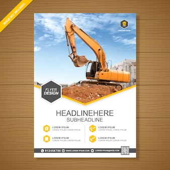 Excavator or dozer cover a4 flyer design template