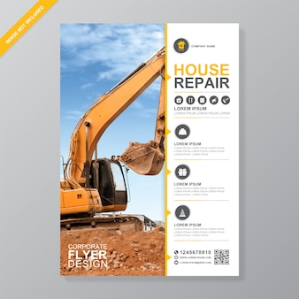 Excavator or dozer flyer design template