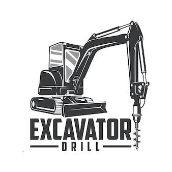 Excavator drill logo