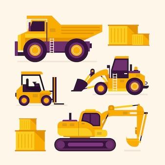 Pacchetto di disegno illustrato dell'escavatore