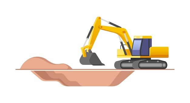 건설 현장에서 작동하는 굴삭기.