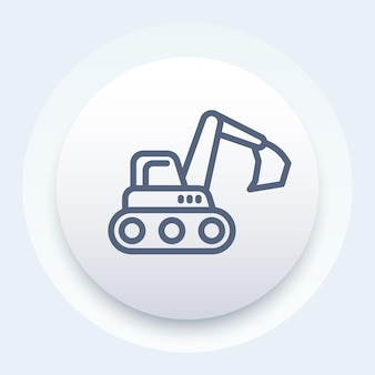 Excavator line icon, construction vehicle