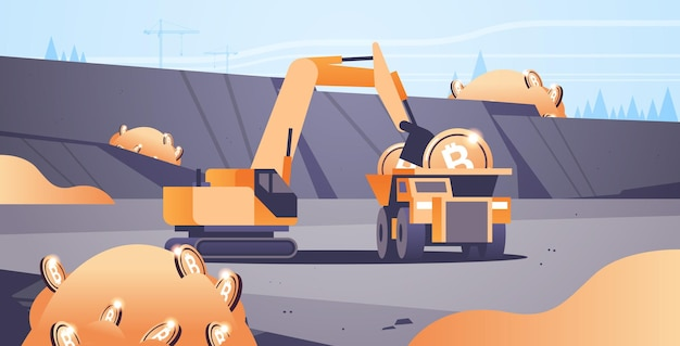 Excavator loading bitcoins on heavy truck mining transport golden coin digital money production cryptocurrency blockchain concept opencast stone quarry horizontal vector illustration