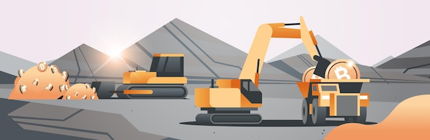 Excavator loading bitcoins on heavy truck mining transport golden coin digital money production cryptocurrency blockchain