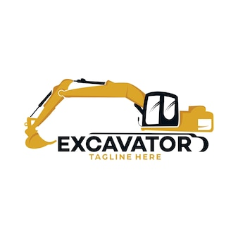 輸送および建築会社のために分離された掘削機のロゴアイコンのシルエット