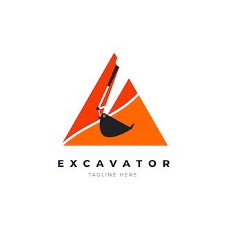 掘削機のロゴのテンプレートデザイン